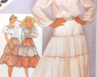 Ruffled Skirt and Blouse Sewing Pattern UNCUT Simplicity 9907 Size 10