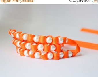 Clearance Sale Ribbon Necklace Pearl Necklace Tangerine Ribbon and Pearls Bridesmaid Jewelry Mothers Day