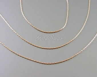 1 meter shiny rose gold delicate thin 0.8mm snake chain, rose gold plated brass chain, necklace chain B141-BRG