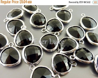 15% OFF 2 black onyx unique faceted glass charms for jewelry making / glass beads for earrings necklaces 5031R-BL (bright silver, black, 2 p