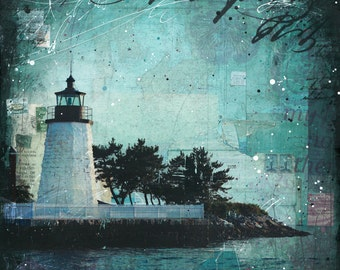 "Emerald Night - 24"" x 36"" original Rhode Island mixed media nautical lighthouse painting"