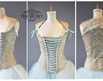 30-33 inch waist-corset-lace front-boudoir corset-ice princess-fairy tale-fantasy-renaissance-steampunk cinderella-the secret boutique-denve