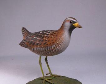 """8"""" Sora Rail Hand Carved Wooden Water Bird"""