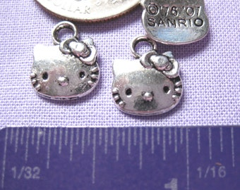 Hello Kitty charm Jewelry Supply 3 pieces cat silver