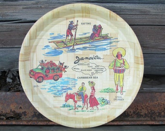 Jamaica Caribbean Island Woven Bamboo Vintage Vacation Souvenir Plate