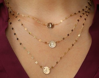 Initial Necklace, Engraved Initial Necklace, 14kt gold filled or Sterling Silver- Your Choice 1,2 or 3 Strands