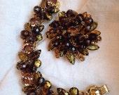 Reserve for Linda Juliana Gold Foil Bracelet and Brooch Set Topaz Rhinestones Crystal Beads
