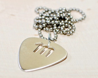 Sterling Silver Guitar Pick Pendant with Custom Letter Cut Out - NL808