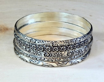 Sterling Silver Stackable Bangle Set Featuring Floral Patterns and Antiqued Patina -  Solid 925 BNGL004