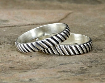 Couples Rings or Wedding Band Set in Sterling Silver with Interlocking Grooved Gear Design