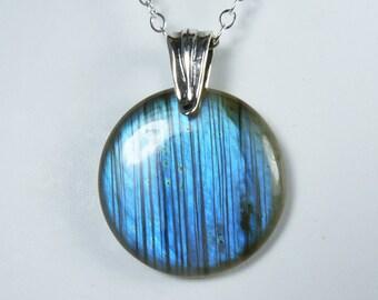 Luminous Blue Labradorite Necklace, Blue Labradorite Pendant, Bright Glowing Iridescent Sky Blue Flash, Sterling Silver