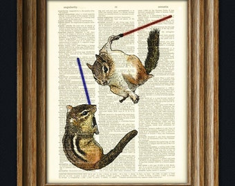 "Chip, I am your father"" The Chipmunk Battle dictionary page book art print"
