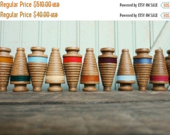 SALE Today RESERVED Miniature Christmas Tree Bobbins - Primitive 3 Inch Wooden Ornament Spools - Set of Twelve Rustic Holiday Decor
