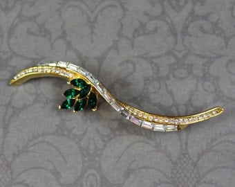 Vintage Shiny Gold Emerald Green and Clear Rhinestone Twist A&S Brooch