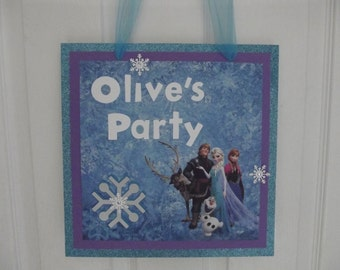 Frozen Door Sign Frozen Birthday Party Door Sign Elsa Anna Olaf Door Sign Frozen Glitter Snowflake Bling  Door Sign Love is Open Door Sign