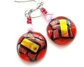 Dichroic Earrings, Fused Glass Earrings, Dangle Earrings, Red, Gold, Sterling Silver, French Hook Earrings