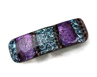 Medium /Small Barrette, Dichroic Barrette, Hair Accessory, Fused Dichroic Glass Barrette, Great for Thick Hair, Purple, Silver, Copper