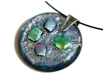Dichroic Glass Pendant, Round Glass Pendant, Blue Pendant, Fused Glass Pendant, Green and Blue Pendant