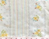 Full Vintage Flat Sheet with Ticking Stripes and Yellow Floral