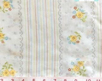 Vintage Pillowcase with Ticking Stripes and Yellow Floral