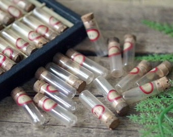 Glass Vials Lot of 15 -  Watchmaker Corked Small Glass Vials- Vintage Watch parts vials - Supply Glass Containers