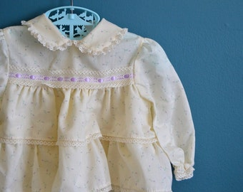 Vintage Baby Girl's Ruffled Dress with Purple Rosebud Print - Size 12 Months