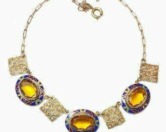 Fall into Vintage SALE Beautiful Art Deco Citrine Czech Crystal Ornate Enamel Vintage Necklace Art Deco Jewelry