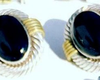 Beautiful Sterling Silver Cable Brass Black Onyx Vintage Mexican Modernist Vintage Earrings