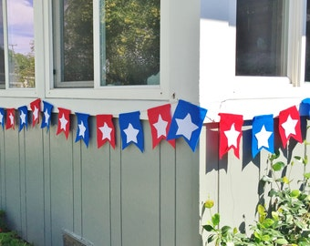 4th of July/ Patriotic  Banner-dovetail rectangles with stars-sold by the foot