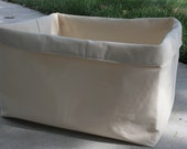 Extra Large Storage Box - Crushable Fabric Home Decor Box in Cream Canvas