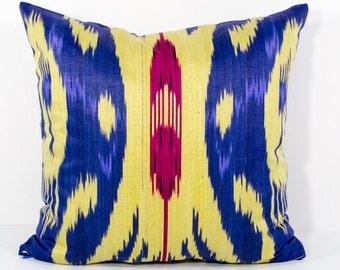 SALE 15x15 yellow blue red ikat pillow cover, yellow blue pillows, yellow red pillows, sofa pillows, cushions, ikats, pillows throw pillows