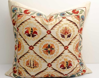 20x20 fully silk handmade embroidery suzani pillow cover, gift for her, pillow shams, suzani embroidery, suzani pillows, flower pillows