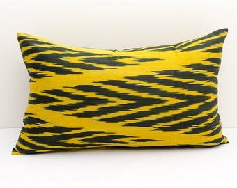 20x12 yellow black ikat pillow cover, cushion case, ikat, yellow ikat pillow cover, decorative pillows, throw pillows, throw pillows, lumbar