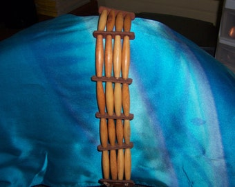 Vintage Handmade Hair Pipe Choker Necklace in Native American Style Amber Color Real Bone Beads and Brown Leather