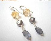 Citrine Iolite and Pearl Earrings - Sterling Silver Beaded Dangle Earrings Beadwork Earrings