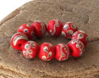 Round Red Folk Style Lampwork Glass Beads
