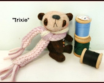 Handmade Vintage Velvet Miniature Teddy Bear by Michelle Trixie