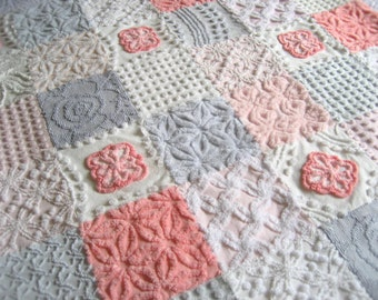 "Heirloom Quality  - "" Trendy""  - Iconic 1950's colors!  Custom Vintage Chenille Lap or Baby Quilt"