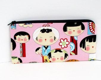 Long Zipper Pencil Pouch, Japanese Kokeshi Dolls, Pink Zippered Bag