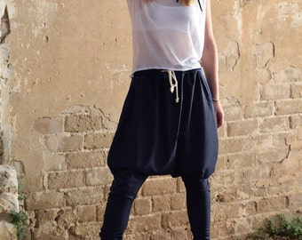 New Collection 2016! Blue stripes wool Harem pants, loose pants, tying pants