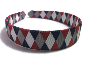 "Red, Navy, Silver, White 1"" Woven Headband - Handmade Ribbon Braided Headband - Made To Order - Blue, Red, White, Silver Headband"
