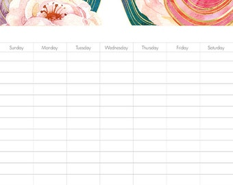 Instant. Weekly Calendar. Tasks and Responsibility Chore Chart. Monthly Budget. Watercolor Floral Planner. Organizer. Planning Pages