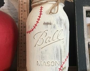 Baseball Large Chalk Painted Mason Ball Jar- coaches gift, man cave, boys room