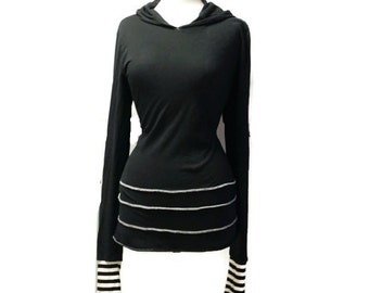 Long Fitted Tee T-shirt Hooded Hoodie Hood Top Extra Long Sleeves Black White Striped Cuffs Goth Gothic Womens S M L