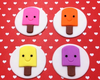 12 Popsicle fondant cupcake toppers