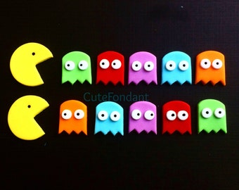12 Pacman and Ghosts fondant cupcake toppers - Pacman birthday - Pacman cupcake toppers - Pacman fondant