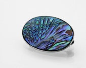 Vintage Paua & Sterling Silver Brooch | 1950s Paua Pin | Hallmarked Silver | New Zealand Paua Shell Purple and Turquoise | Paua Jewelry