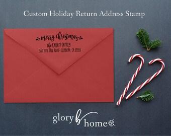 Custom Return Address Stamp - Self-Inking Rubber Stamp - Holiday Address Stamp - Christmas Card Stamp - Personalized Self-Inking Stamp