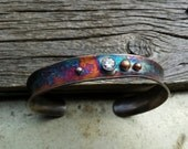 Sterling oxidized Cuff w/ faceted stones