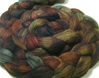Hand dyed Polwarth & tussah silk roving 4.8 oz Herb Garden - dyed top spinning and felting fiber - earthy painted wool top